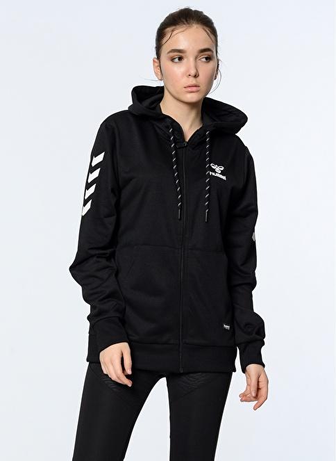 Hummel Fermuarlı Kapüşonlu Spor Sweatshirt Siyah